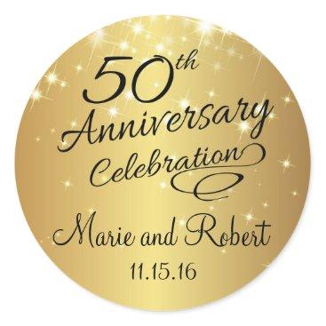anniversarie Golden 50th Wedding Anniversary Classic Round Sticker