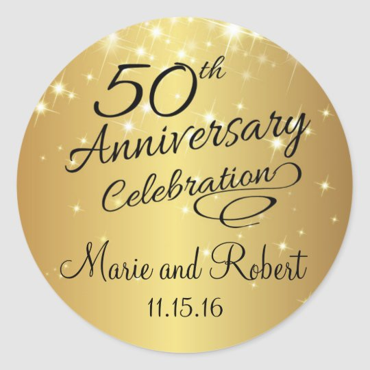Charming Golden 50th Wedding Anniversary Classic Round Sticker