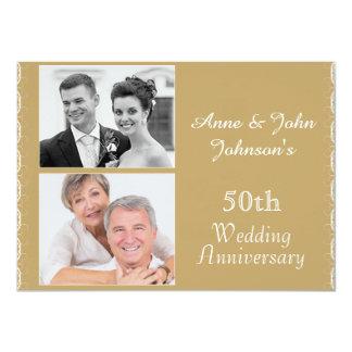 Golden 50th Wedding Anniversary Invitation 11 Cm X 16 Cm Invitation Card