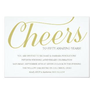 "Golden 50th Wedding Anniversary Party Invitation 5"" X 7"" Invitation Card"