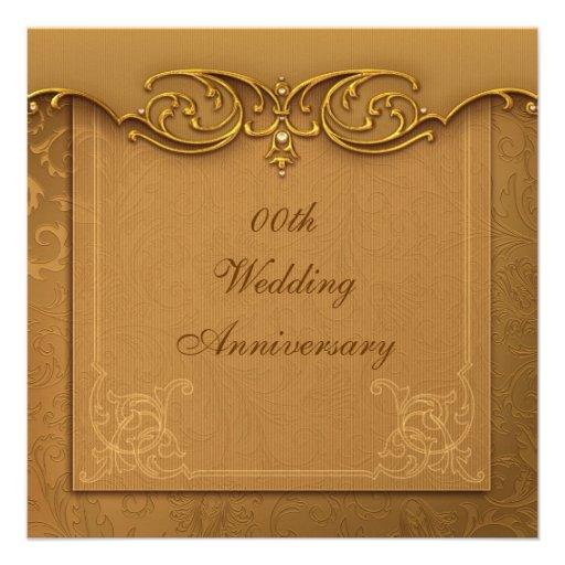 Golden 50th Wedding Anniversary Party Invitation