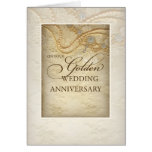Golden 50th Wedding Anniversary, Pearls and Lace Greeting Cards