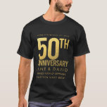 "Golden 50th Wedding Anniversary Personalized Party T-Shirt<br><div class=""desc"">NOTE - these are printed images of foil... not actually foil embossed print on fabric (to get foil embossing on fabric would cost at least 3 times as much). Personalize this sophisticated, contemporary, simple, elegant gold 50th anniversary top/t-shirt for a friend/relatives 50th anniversary. A quality keepsake for such a big...</div>"
