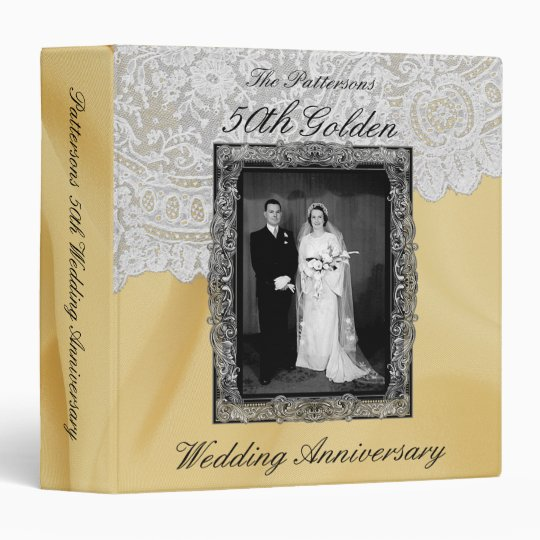 Golden 50th Wedding Anniversary Photo Album 3 Ring Binder Zazzlecom