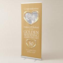 Golden 50th wedding anniversary photo heart banner