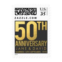 Golden 50th Wedding Anniversary Postage Stamps