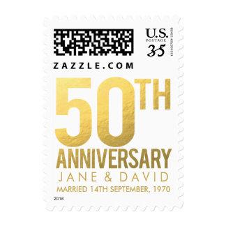 Golden 50th Wedding Anniversary Postage Stamps