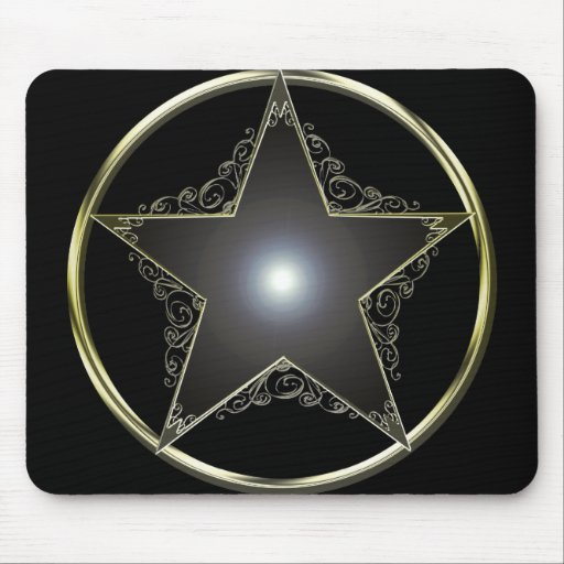 Golden 5 Point Star Mouse Pad