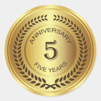 Golden 5th Anniversary with laurel wreath Sticker