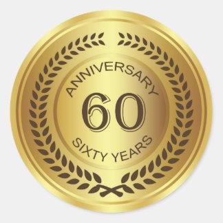 Golden 60th Anniversary with laurel wreath Sticker