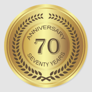 Golden 70th Anniversary with laurel wreath Sticker