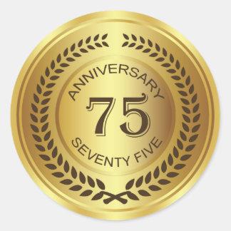 Golden 75th Anniversary with laurel wreath Sticker