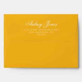Golden A7 Pre-Addressed Linen Envelopes