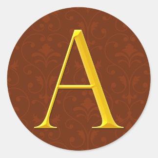 Golden A Monogram Classic Round Sticker