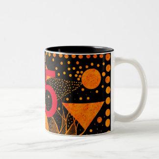 golden abstract 95 Two-Tone coffee mug