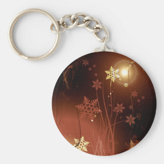 Golden abstract art Christmas composition Keychain