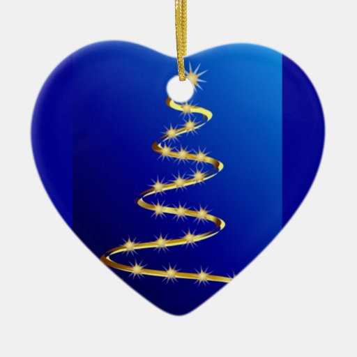 Golden Abstract Christmas Tree Double-Sided Heart Ceramic Christmas Ornament