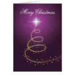 Golden abstract Christmas Tree on glowing purple Card
