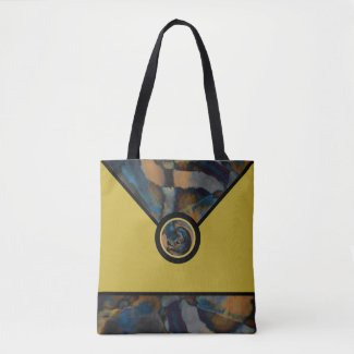 Golden Abstract Designer Tote Bag