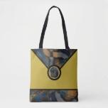 Golden Abstract Designer Tote Bag