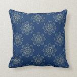 Golden Abstract Flower Damask on Blue Pillow