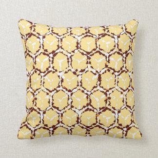 Golden Abstract Honeycomb Reversible Throw Pillow