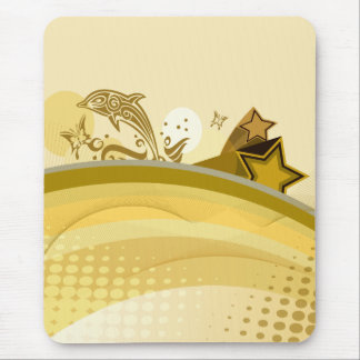 Golden Abstract Ocean With Dolphin & Butterfly Mouse Pad