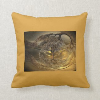Golden Abstract Tree Pillow