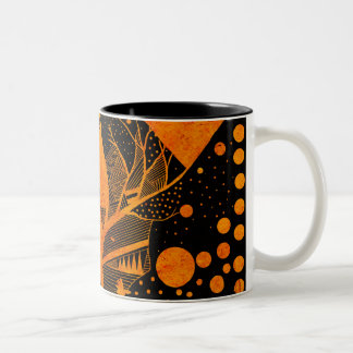 golden abstract Two-Tone coffee mug
