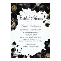 Golden Accented Black Floral Bridal Shower Invites