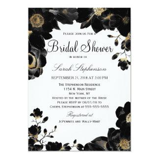 Golden Accented Black Floral Bridal Shower Invites