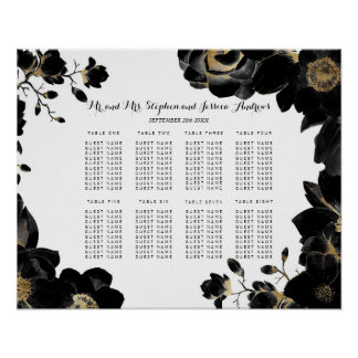 Golden Accented Black Floral Seating Chart