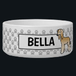 "Golden Afghan Hound Cartoon Dog Bowl<br><div class=""desc"">Cute Destei&#39;s original cartoon illustration of a golden color Afghan Hound dog.</div>"