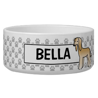 Golden Afghan Hound Cartoon Dog Bowl