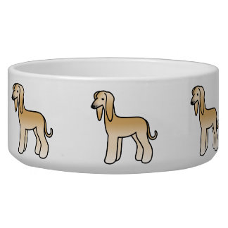Golden Afghan Hound Cartoon Dog Bowl