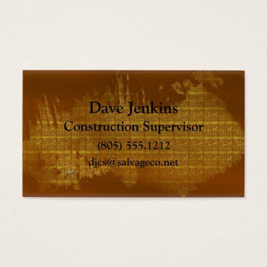 Golden Afterglow Metal Grunge Business Card
