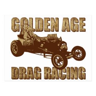 golden age drag racing altered wheel base postcard