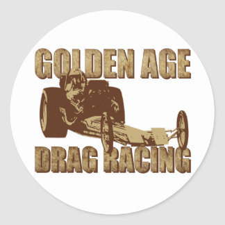 golden age drag racing digger dragster classic round sticker
