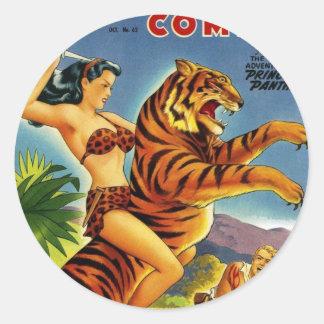 Golden Age Jungle Comic Classic Round Sticker