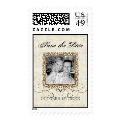 Golden Age of Elegance, Swirls Wedding Invitation Stamp