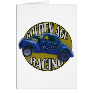 Golden Age Willys Gasser Drag Racing Blue and Gold Card
