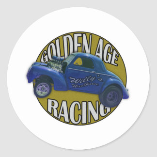 Golden Age Willys Gasser Drag Racing Blue and Gold Classic Round Sticker