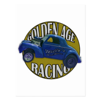 Golden Age Willys Gasser Drag Racing Blue and Gold Postcard