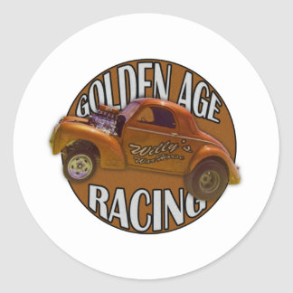 Golden Age Willys Gasser Drag Racing Gold Classic Round Sticker