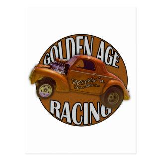 Golden Age Willys Gasser Drag Racing Gold Postcard