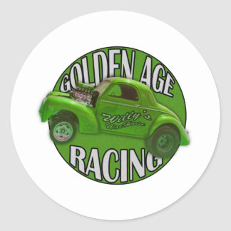 Golden Age Willys Gasser Drag Racing Lime Classic Round Sticker