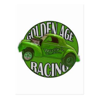 Golden Age Willys Gasser Drag Racing Lime Postcard