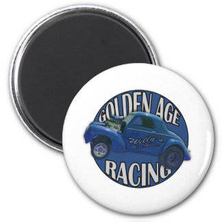 Golden Age Willys Gasser Drag Racing Midnight Blue Magnet