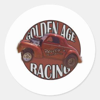 Golden Age Willys Gasser Drag Racing Orange Classic Round Sticker