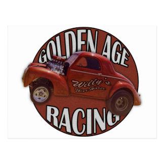Golden Age Willys Gasser Drag Racing Orange Postcard